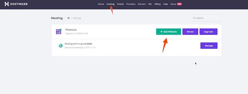 Hostinger install new website